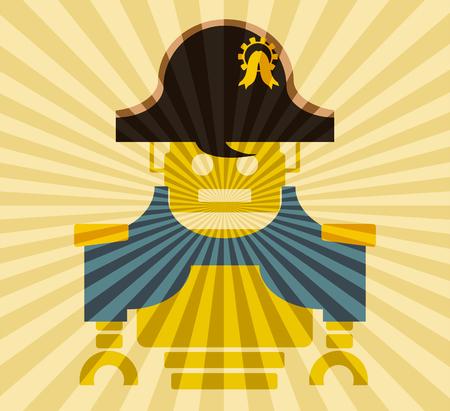 bonaparte: Cute vintage robot. Robotics industry relative image. Napoleon Bonaparte cartoon character. Sun rays backdrop