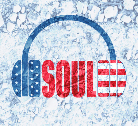scattering: Silhouettes of headphones with soul text. Textured by USA flag. Scattering of stones backdrop Stock Photo