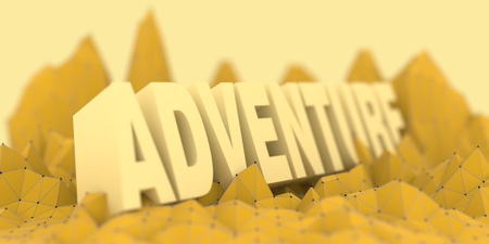 Low poly mountains landscape. 3d illustration. Polygonal mosaic background. Adventure word Stock Photo