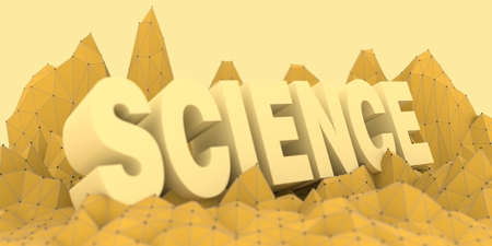 pyramid peak: Low poly mountains landscape. 3d rendering. Polygonal mosaic background. Science word Stock Photo