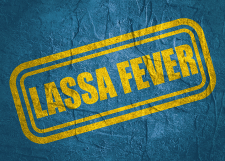 Stamp with Lassa Fever text over concrete textured background. Medical science relative theme Stock Photo
