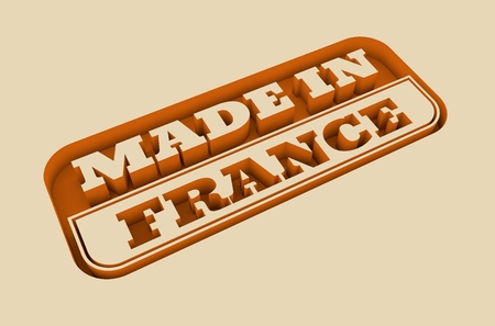 verification and validation: Carved stamp with made in France text. 3d rendering