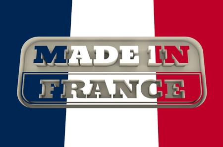 verification and validation: Carved stamp with made in France text. 3d rendering. National flag