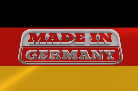 text 3d: Carved stamp with made in Germany text. 3d rendering. National flag
