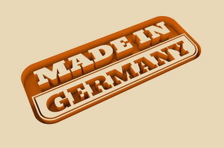 Carved stamp with made in Germany text. 3d rendering. Stock Photo