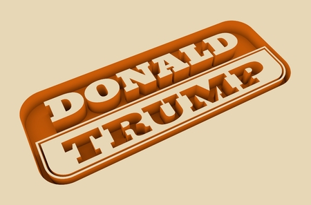 donald: United States of America, Circa-2016: Carved stamp with Donald Trump text. 3d rendering. Editorial