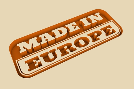 text 3d: Carved stamp with made in Europe text. 3d rendering. Stock Photo