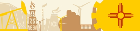 Energy and Power icons set. Header banner with New Mexico flag. Sustainable energy generation and heavy industry. Vector illustration