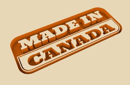 canada stamp: Carved stamp with made in Canada text. 3d rendering. Stock Photo