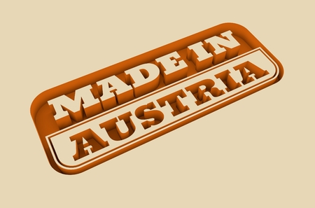 text 3d: Carved stamp with made in Austria text. 3d rendering.
