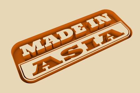 text 3d: Carved stamp with made in Asia text. 3d rendering.