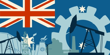 heavy set: Energy and Power icons set with Australia flag. Sustainable energy generation and heavy industry. Vector illustration