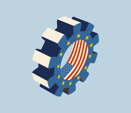 TTIP - Transatlantic Trade and Investment Partnership. Europe and USA association. Flags on gear