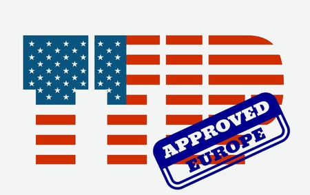 approved stamp: TTIP - Transatlantic Trade and Investment Partnership. Europe and USA association. Approved stamp