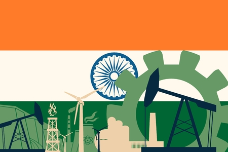 Energy and Power icons set with India flag. Sustainable energy generation and heavy industry. Vector illustration
