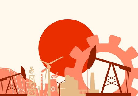 heavy set: Energy and Power icons set with Japan flag. Sustainable energy generation and heavy industry. Vector illustration Illustration