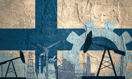 heavy set: Energy and Power icons set with Finland flag. Sustainable energy generation and heavy industry. Stock Photo