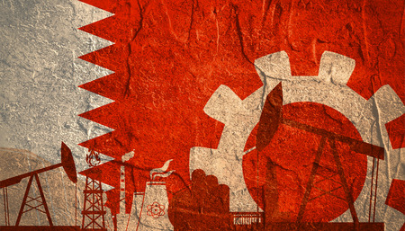 Energy and Power icons set with Bahrain flag. Sustainable energy generation and heavy industry. Stock Photo