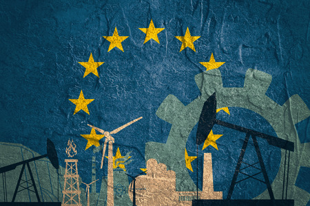 european union flag: Energy and Power icons set with European Union flag. Sustainable energy generation and heavy industry. Stock Photo