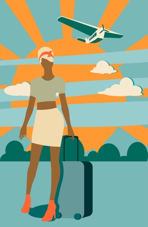 Woman traveler silhouette standing with baggage. Retro hair style. Cloudscape with airplane on backdrop Illustration