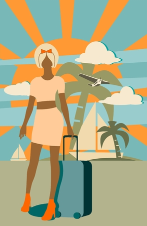 retro hair: Woman traveler silhouette standing with baggage. Retro hair style. Cloudscape with airplane on backdrop Illustration