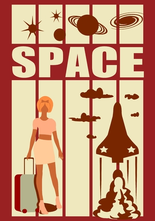 voyager: Woman traveler silhouette standing with baggage. Retro hair style. Space travel relative backdrop Illustration