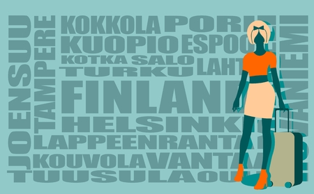 retro hair: Woman traveler silhouette standing with baggage. Retro hair style. Finland cities words cloud on backdrop Illustration