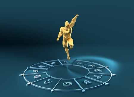 augury: Golden astrological symbols in the circle. Muscular man fly out from the center of the ring. 3D rendering. Metallic figure Stock Photo
