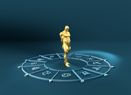 augury: Golden astrological symbols in the circle. Muscular captured man standing in the center of the ring. 3D rendering. Metallic figure