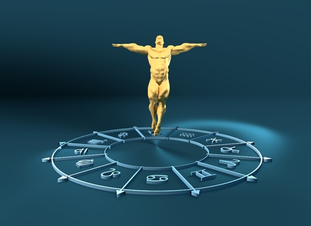astrologer: Golden astrological symbols in the circle. Muscular man fly out from the center of the ring. 3D rendering. Metallic figure Stock Photo