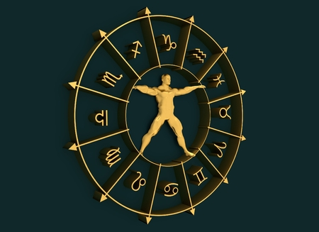 augury: Golden astrological symbols in the circle. Muscular man standing in the center of the ring. 3D rendering. Metallic figure