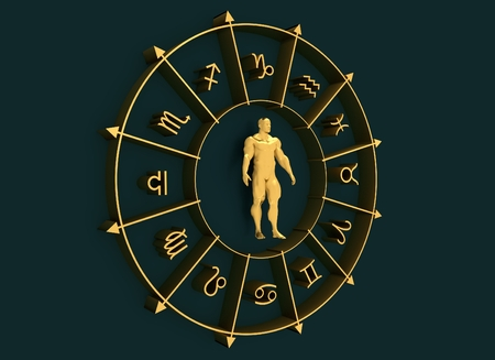 Golden astrological symbols in the circle. Muscular man standing in the center of the ring. 3D rendering. Metallic figure
