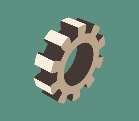 mechanism of progress: Gear model on blue background. Precision machinery relative backdrop