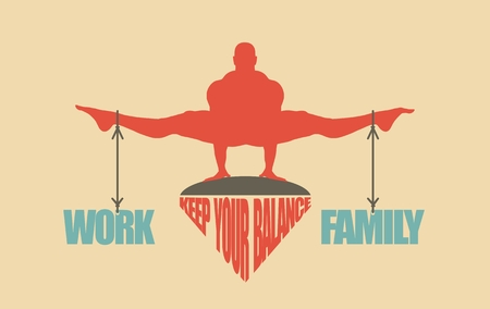 Balance between work and family. Concept image Illustration