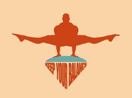 equal opportunity: Balance keeping. Bodybuilder silhouette posing. Keep your balance text