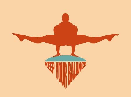 Balance keeping. Bodybuilder silhouette posing. Keep your balance text