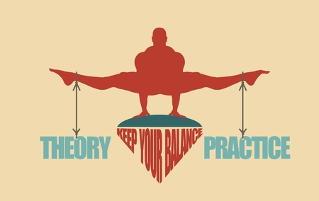 equal opportunity: Balance between theory and practice. Silhouette of a man with the words attached Illustration