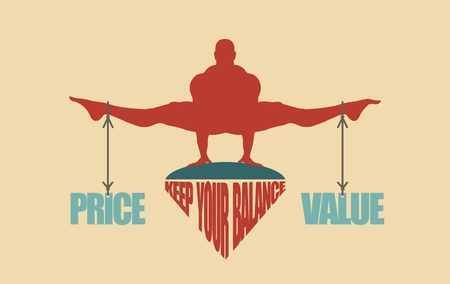 Balance between price and value. Silhouette of a man with the words attached
