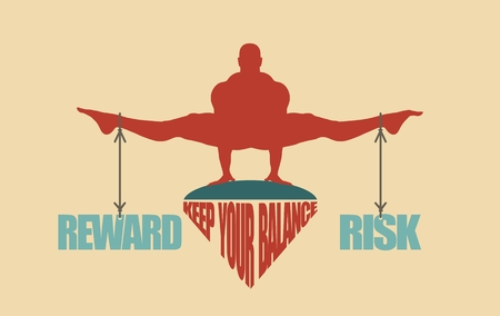 Balance between reward and risk. Silhouette of a man with the words tied Illustration