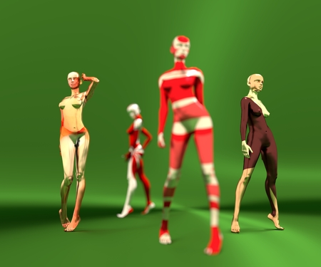Sexy woman mannequins posing. 3d rendering. Fashion models painted by abstract pattern