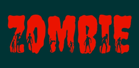 Zombie word and silhouettes on them. Halloween theme background