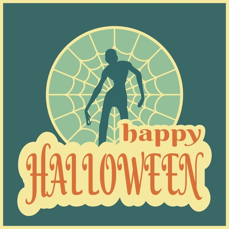 spider  net: Halloween party background. Zombie silhouette on spider net circle