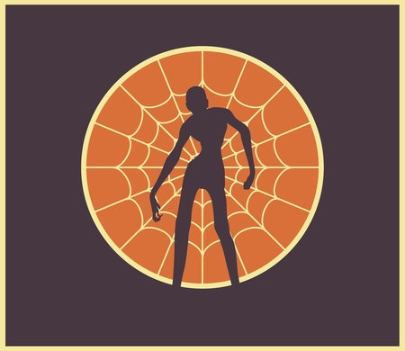 Spider net and silhouette on them. Halloween theme background