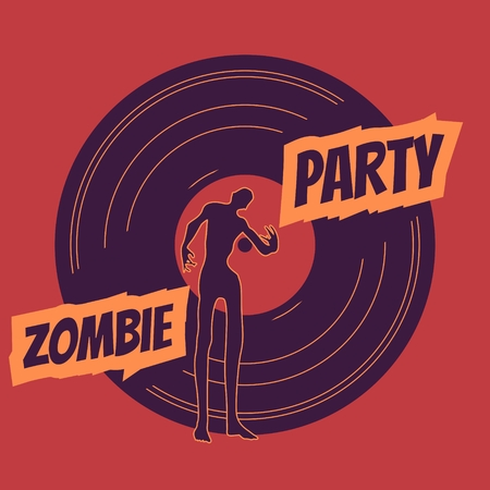 walking corpse: Zombie party text and silhouette on vynil record backdrop. Halloween theme background
