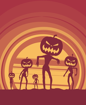 calabaza caricatura: Halloween holiday background. Zombie silhouettes with pumpkins head
