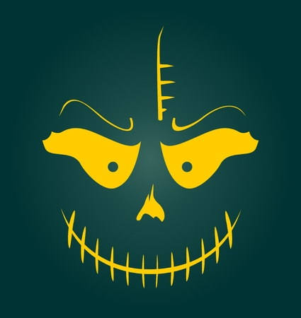 Vector Skull with Evil Laugh. Simple silhouette