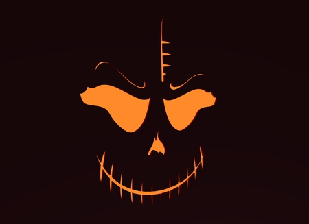 Doodle Skull with Evil Laugh. Simple silhouette. Neon shining. 3D rendering Stock Photo