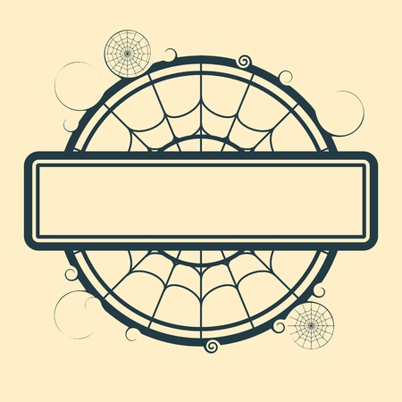 spider  net: Halloween theme stamp with field for text and spider net. Round shape Illustration