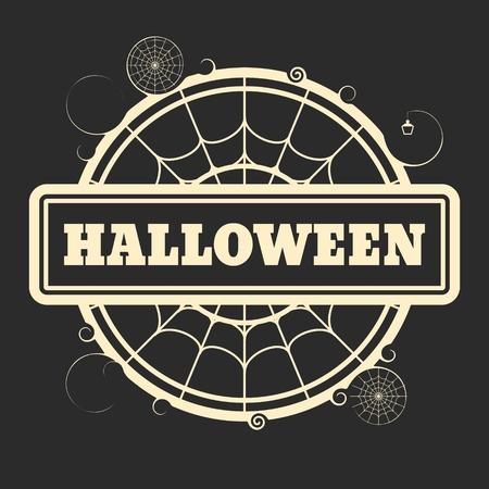 spider  net: Stamp with Halloween text and spider net. Round shape