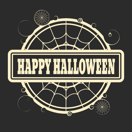 spider  net: Stamp with Happy Halloween text and spider net. Round shape Illustration
